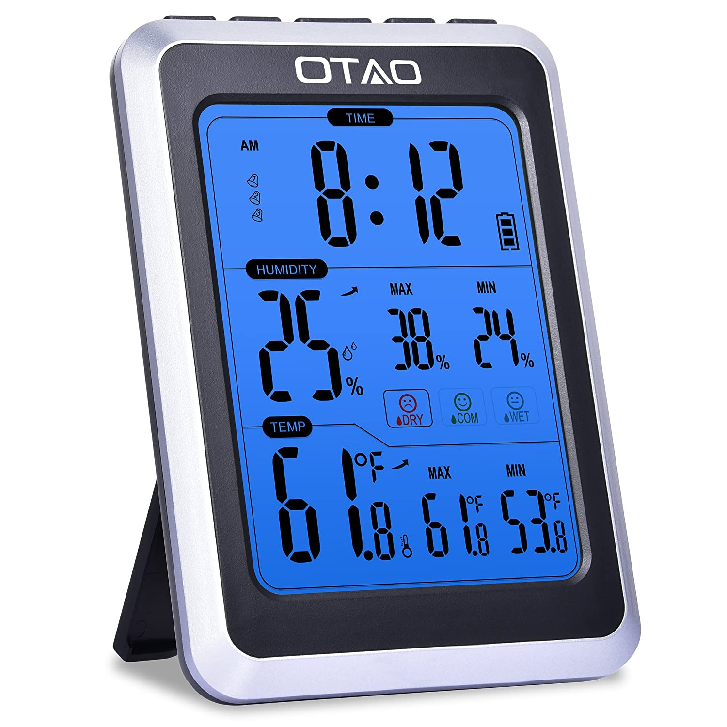 OTAO Digital Hygrometer Indoor Thermometer Humidity Meter Temperature Humidity Gauge Alarm Clock Voice Control Backlight Room Thermometer Humidity Monitor OT-SDJ-01