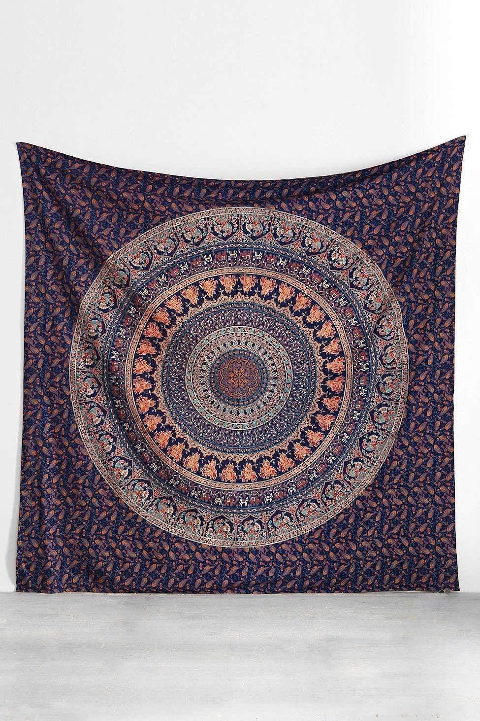 Handicraftofpinkcity White Color Hippie Mandala Tapestry Throw Queen Size Bohemian Decor Bedspread Blanket Indian Mandala Wall Hanging