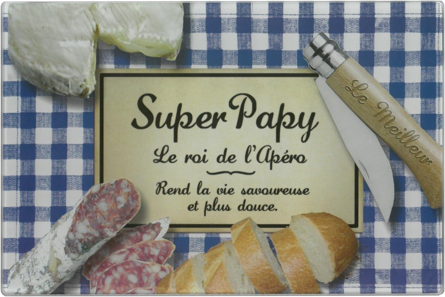 Planche /À D/écouper En Verre 40x13cm Super Papy Le Roi De L\apero