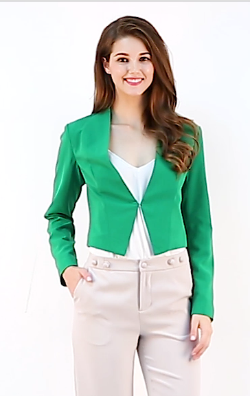 Allegra K Women's Collarless Work Office Business Casual Cropped Blazer 20