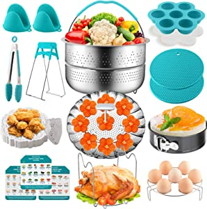 Rinerly Instant Pot Accessories Compatible 5 6 8Qt Instant Pot And Pressure Cooker Accessories Set-Steamers Spring Pot Vegetable Steamer Basket Steamed Egg Rack Egg Bite Mold Kitchen Tong Etc 90Pcs