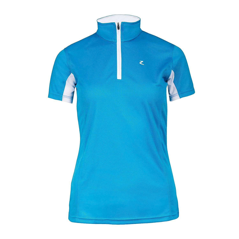 Horze Tristaレディースshort-sleeved Functional Showシャツ US 2 Paradise Blue/ White B072MK6G9P