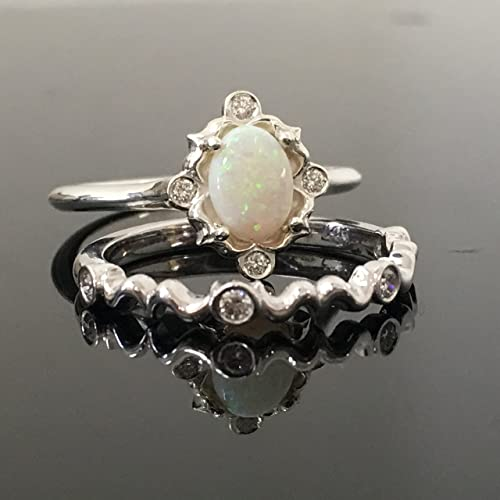 Beautiful 0.925 Sterling Silver Opal Engagement Ring Set   Silver Vintage Inspired  Opal And Diamond Bridal Set
