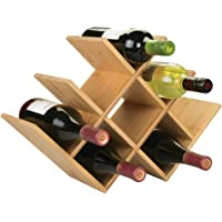 mDesign range bouteille pour vin – joli casier à bouteille en bois pouvant contenir jusqu'à huit bouteilles – porte bouteille autoportant pour boissons et bouteilles de vin – couleur nature