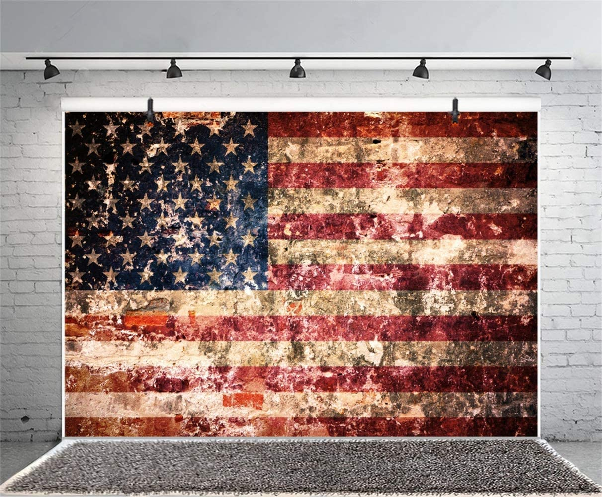 Grunge Dirty Wall US Flag Painting Backdrop Vinyl 10x7ft Independence Day Veteran Day Memorial Day Background Studio Child Kids Baby Portrait Shoot Eagle Scout Ceremony Nostalgia Style