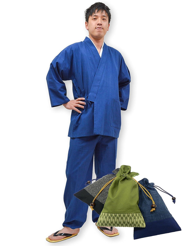 【日本製】 武州本藍染作務衣 No.1 あさぎ 【IKISUGATA】 B00HZ878JQ L