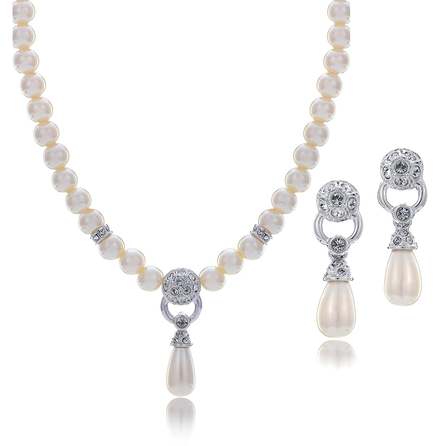 LAURA & ALEXANDER Simple and Lovely Simulated Pearl Necklace and Earring SET Features Teardrop Pearl