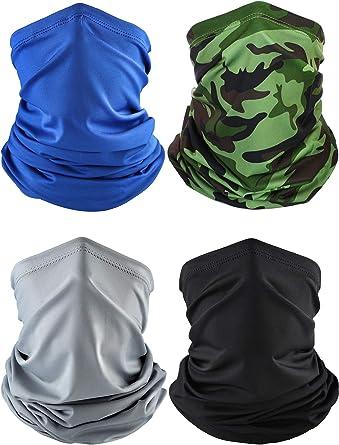 Black, Dark Grey, Royal Blue, Army Green, Navy Blue, Khaki, 6 Summer Face Cover UV Protection Neck Gaiter Scarf Sunscreen Breathable Bandana