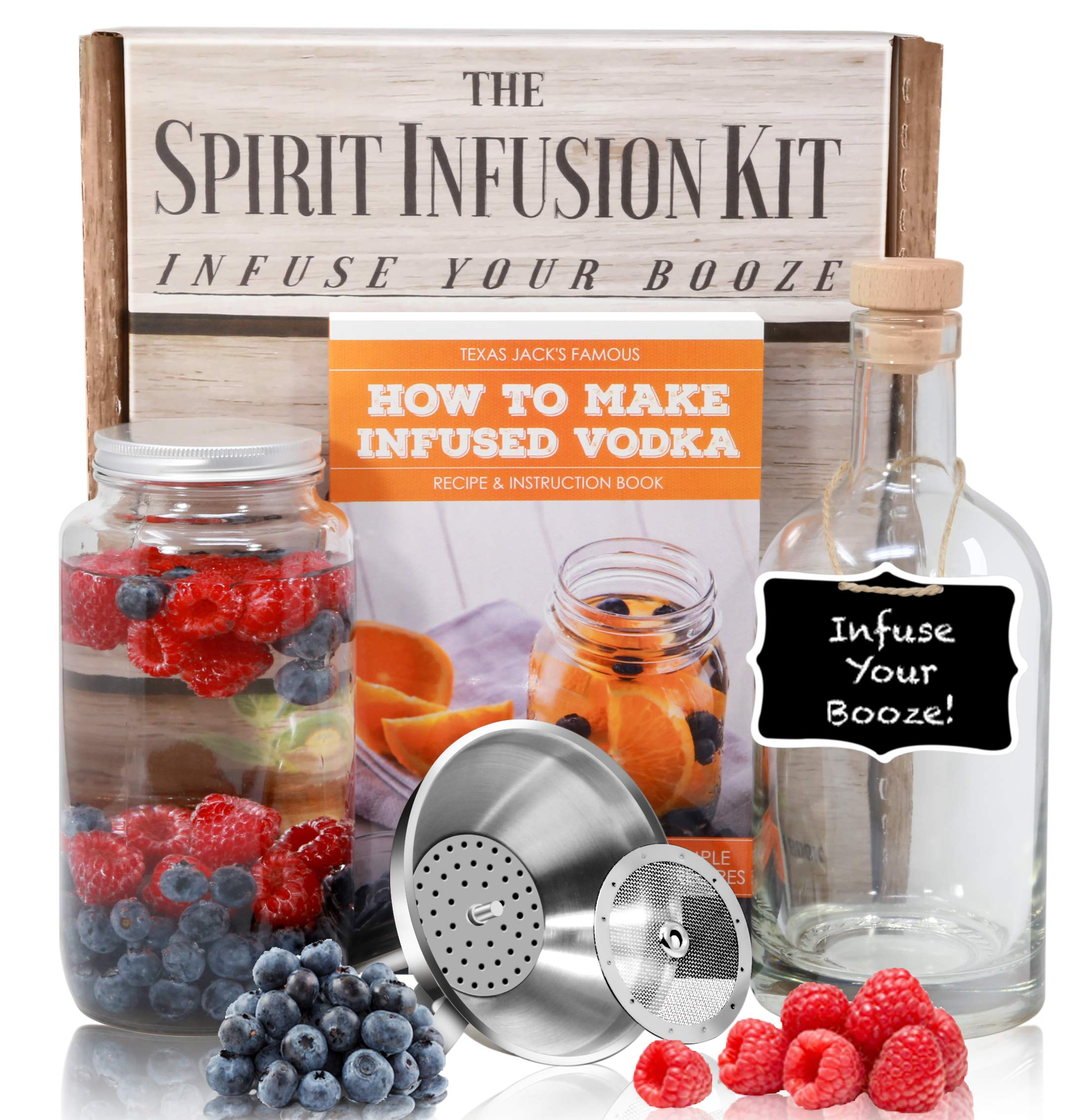 The SPIRIT INFUSION KIT - Infuse Your Booze! 70+ Homemade Flavored Vodka Recipes. Become an Infused Alcohol Cocktail Mixologist using the 110pg Recipe and Instruction Book. Great Gift & Party Hit! by Craft Connections Co. (Image #1)