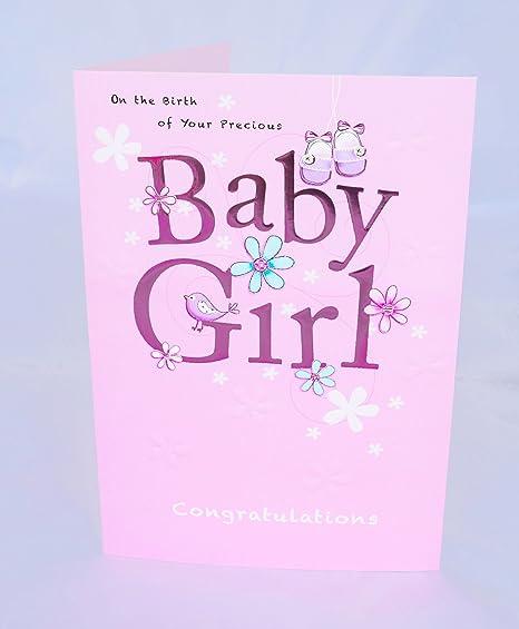 En la tarjeta de nacimiento de su tarjeta de Baby Girl nuevo niño ...