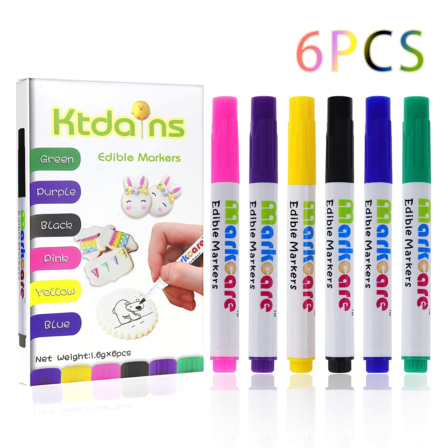 Edible Markers,Food Coloring Markers,Food coloring Pens,6 Colors Food Grade pen,Thick Tip and Fine Tip , Gourmet Writers for Decorating Fondant,Cakes, Cookies, Frosting, Easter Eggs