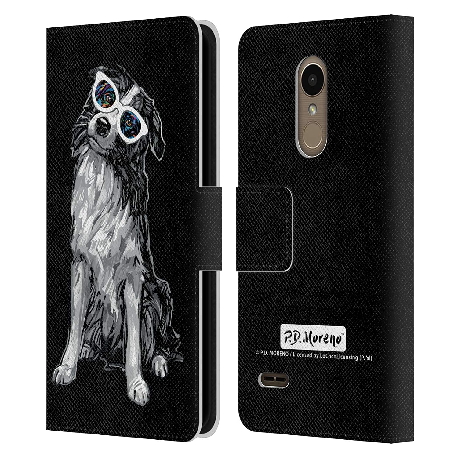 Official P.D. Moreno Border Collie Black and White Dogs Leather Book Wallet Case Cover Compatible for LG K10 / K11 / K11 Plus (2018)