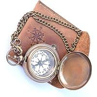 NEOVIVID Handgemaakte messing Push Open kompas op ketting met lederen behuizing, zakkompas, cadeaukompas