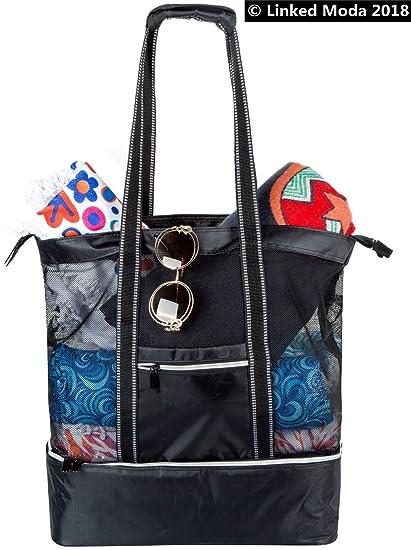 Linked Moda Bolsa térmica de malla para playa aislamiento – bolsa de la compra de lona