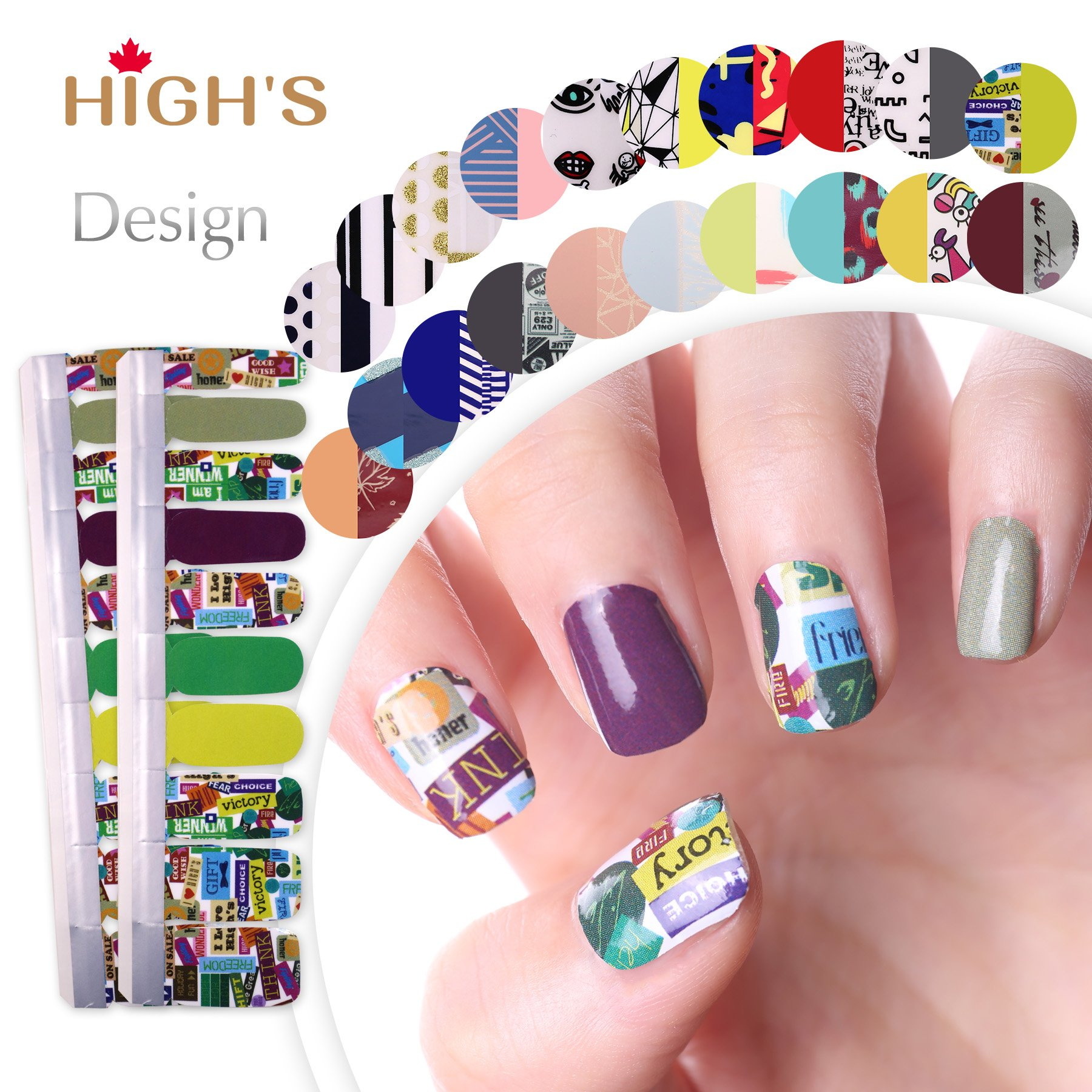 Amazon.com: HIGH\'S EXTRE ADHESION 20pcs Nail Art Transfer Decals ...