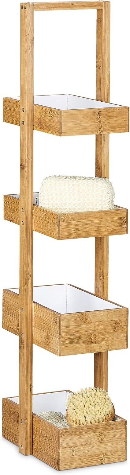 Relaxdays 10027608 Rangement /à bagues Support avec 3 tablettes /à Anneaux en Bois Stockage de Bijoux Fer Nature Mousse Naturel 1 20 x 25,5 x 18 cm