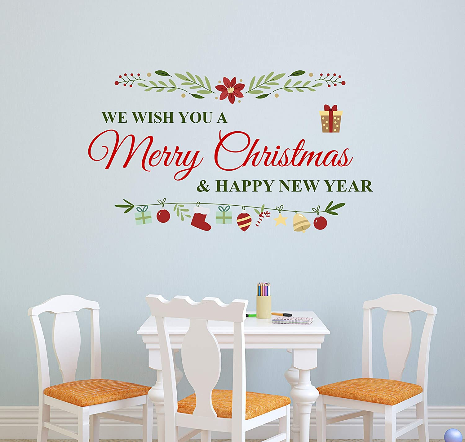 Merry Christmas & Happy New Year Wall Decal Christmas Wall Decor Removable Vinyl Art Mural Living Room Door Sticker (22
