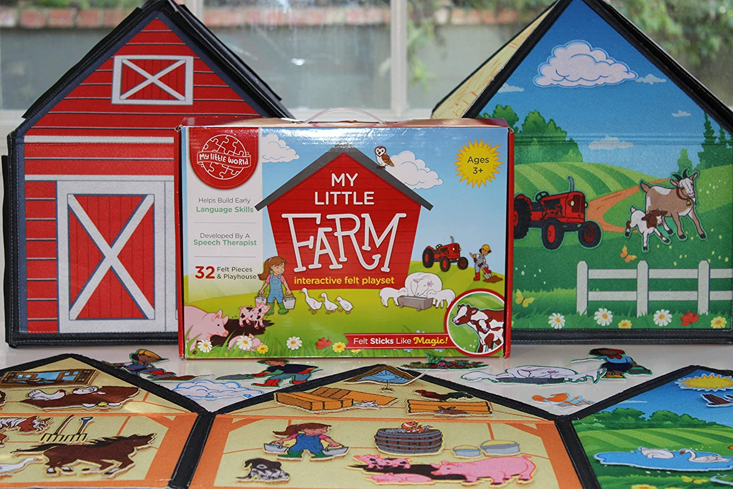 My Little Farm Interactive 3d Felt Playhouse For Early Language And Vocabulary Development 8 Colorful Rooms With 32 Matching Felt Pieces