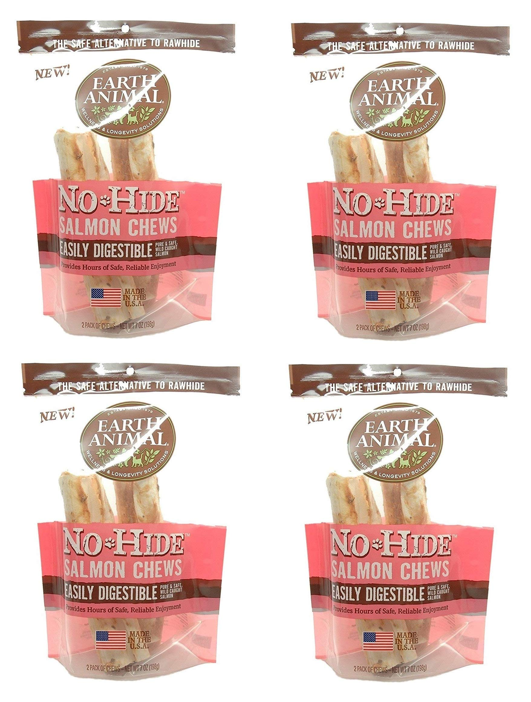 Earth Animal 8 Count No-Hide Salmon Chews, 4 Inches Each by Earth Animal