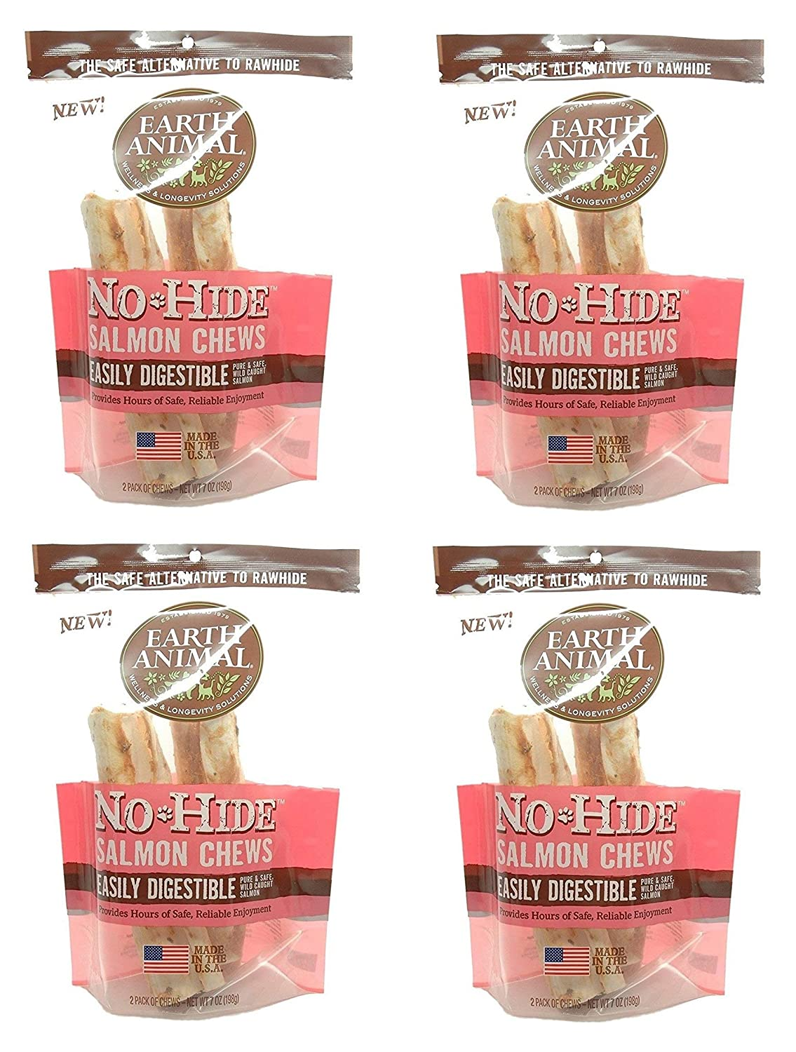 Earth Animal 8 Count No-Hide Salmon Chews, 4 Inches Each