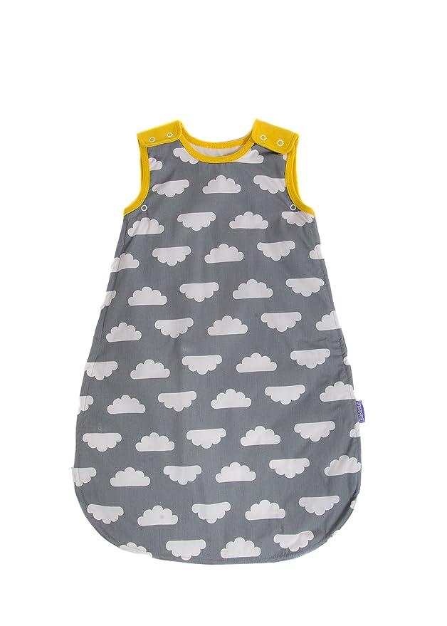 Babasac Mama Designs - Saco de dormir para bebé (0 a 6 meses), diseño de nubes grises con borde amarillo,1 y 2,5 Tog: Amazon.es: Bebé