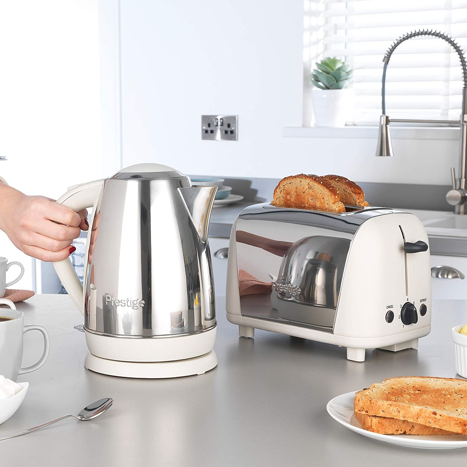 Prestige 53233 Cordless 1.7L Kettle and 2-Slice Toaster, Stainless Steel and Almond Almond