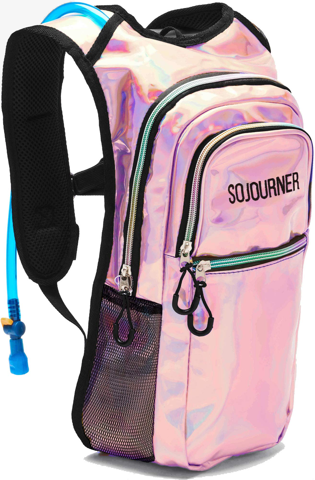 Sojourner Rave Hydration Pack Backpack - 2L Water Bladder Included for Festivals, Raves, Hiking, Biking, Climbing, Running and More (Medium) (Holographic - Pink)