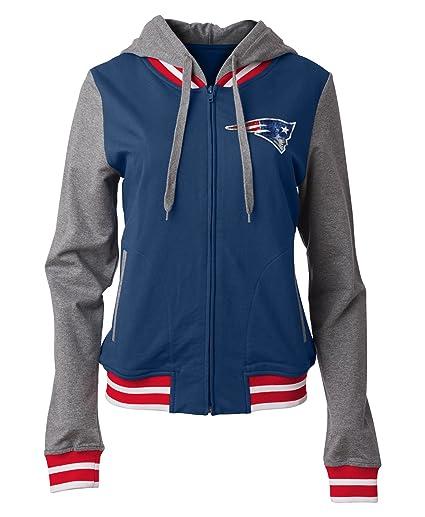 half off 2fe22 31196 5th & Ocean New England Patriots Women's French Terry Sequin Logo Zip Up  Hoodie