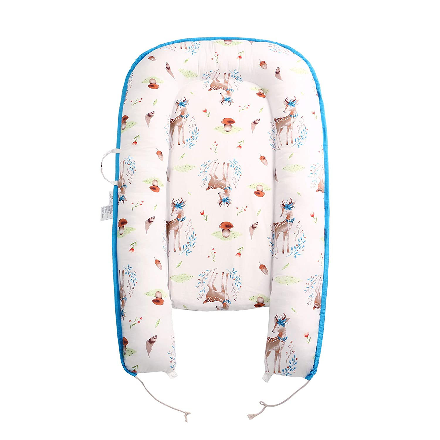 Baby Lounger Portable 100/% Organic Soft Cotton Breathable Crib Bear Perfect for Co-Sleeping and Traveling 0-12 Months Baby Nest and Baby Bassinet