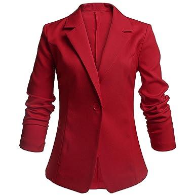 370c0dcfa86 Modfine Blazer Femme Manches Longues Manteau Decor Un Bouton Bureau  Occasionnel