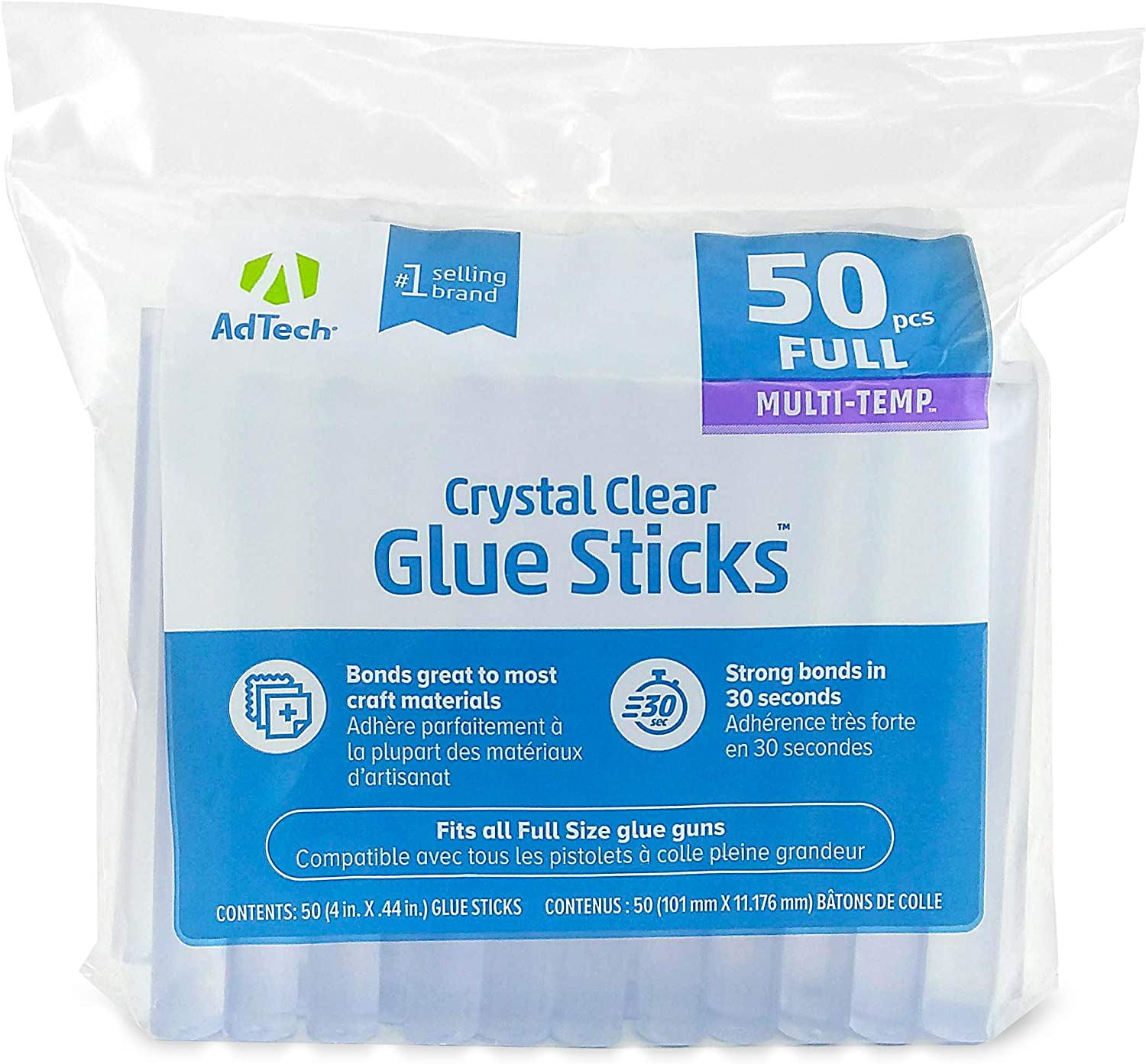 """Adtech (220-14ZIP50) Full-Size Hot purpose glue sticks for crafting, scrapbooking & more, 4"""" 50ct, Clear, 50 Count - Arts And Crafts Glue Guns"""