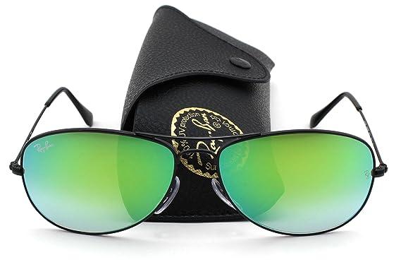 012f574172 Amazon.com  Ray-Ban RB3362 Cockpit Flash Series Unisex Sunglasses (Shiny  Black Frame   Green Flash Lens 002 4J