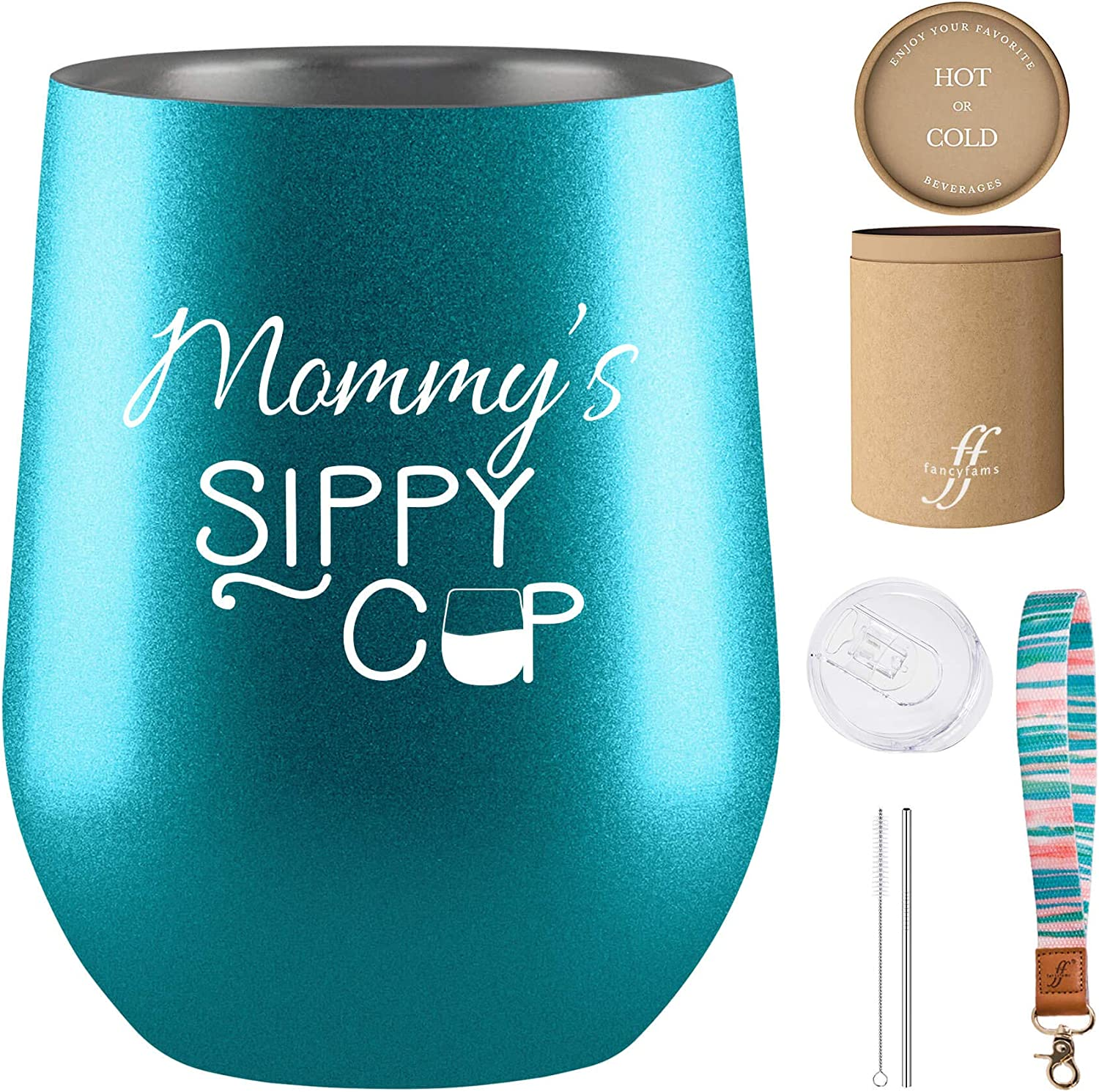 Mommy's Sippy Cup Wine Tumbler - Fancyfams - 12 oz White Stainless Steel Vacuum Insulated Wine Tumbler with Lid and Straw, Mom Gifts, Mothers Day Gifts, Mom Birthday Gifts, Mom Wine Glass (Turquoise)