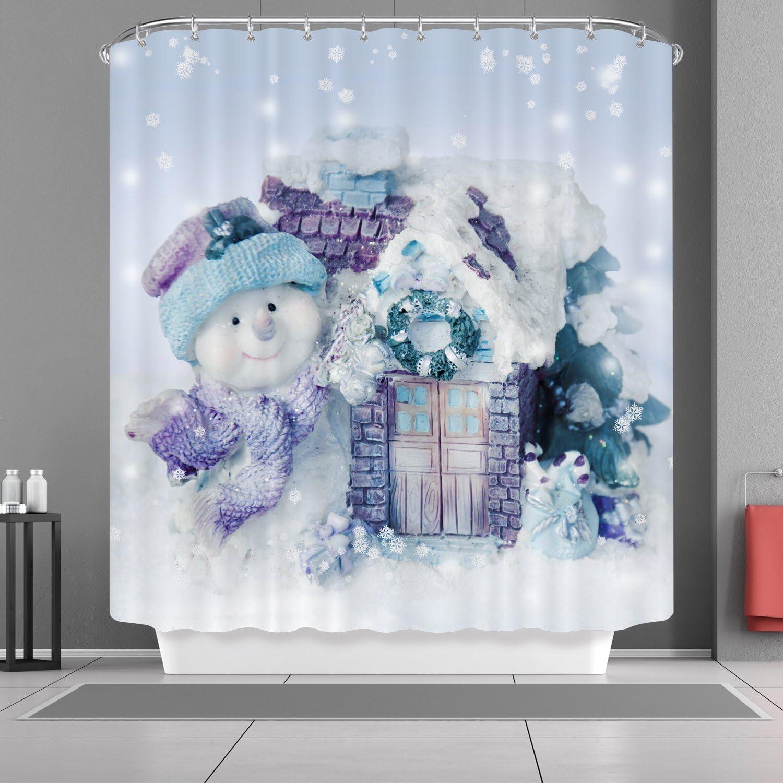 VANCAR Christmas Snowman Shower Curtain New Year Waterproof Bath Curtain Winter Snow Snowflakes House 3D Snowman Decorative Bathroom Shower Curtain for Xmas Christmas Day Decor Home Decoration 66X72