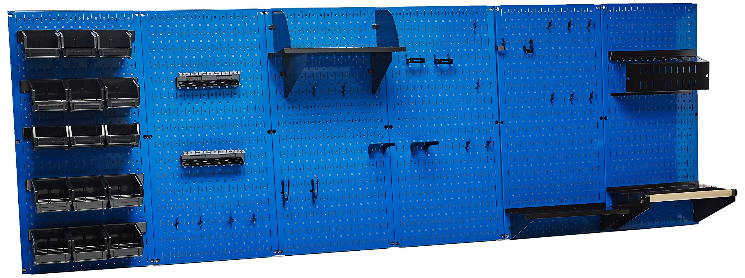 Wall Control 30-WRK-800 BUB Organizer 8' Pegboard Master Workbench Kit with Blue Tool Board and Black Pegboard Hooks