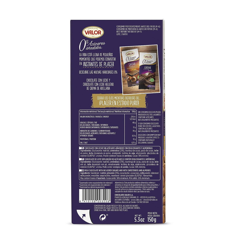Chocolates Valor - Chocolate con leche y almendras - 150 g: Amazon.es: Alimentación y bebidas