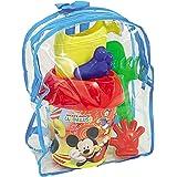 Mickey Mouse transparenter Rucksack mit Sandspielzeug • Disney Eimer Kinder Garten Garnitur Strandtasche