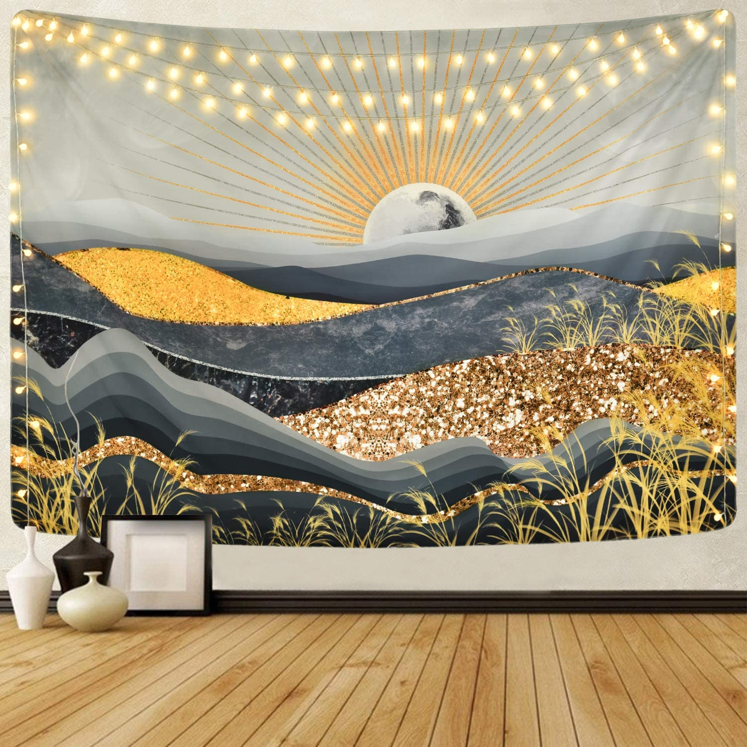 Alishomtll Mountain Tapestry Gold Grey Art Tapestry Shining Sun Tapestry Abstract Nature Landscape Tapestry for Room (59.1 x 82.7 inches)