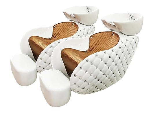 Crisnails® Kit Lavacabezas con Sillones de Salón Peluquería Barberos Kit de 2 Sillones para Lavar Peluquería (Diamante-Negro)