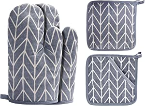 Win Change Oven Mitts and Potholders BBQ Gloves-Oven Mitts and Pot Holders with Recycled Cotton Infill Silicone Non-Slip Cooking Gloves for Cooking Baking Grilling (4-Piece Set) (Grey)