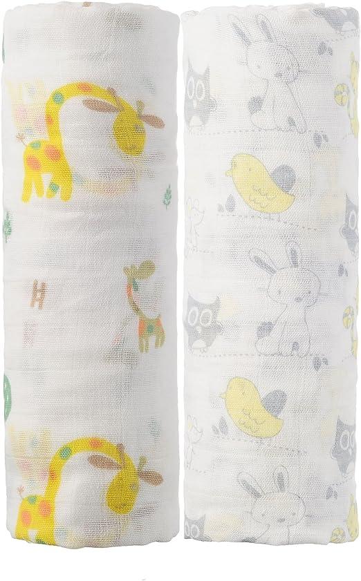 Manta de Muselina para bebé de algodón orgánico, 2 Unidades de 47 ...