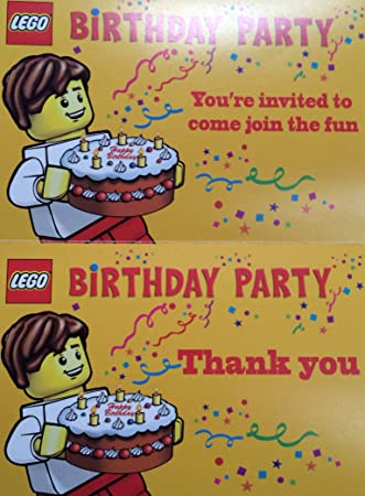 Amazon.com: Lego Birthday Party Invitations - Pack of 10 Invitations ...