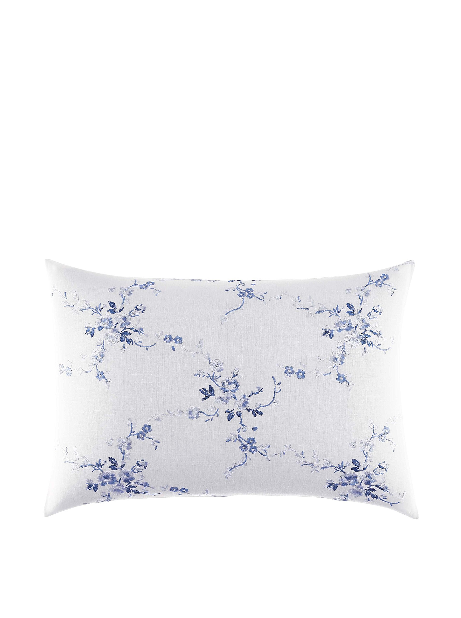 Laura Ashley Home | Charlotte Collection | Perfect Decorative Throw Pillow, Premium Designer Quality, Decorative Pillow for Bedroom Living Room and Home Décor, 20x20, China Blue - Dec pillow is 14x20 Pillow features embroidery details Pillow includes removable polyester insert - living-room-soft-furnishings, living-room, decorative-pillows - 81uNnnL7uVL -
