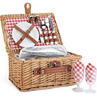 Wicker Picnic Basket for 2, Willow Hamper Basket Sets with Insulated Compartment, Handmade 2 Person Picnic Basket…