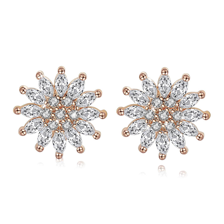 Fine Jewelry 925 Sterling Silver Women Earrings Rose Gold Pink Cube Crystals S925 Fine Zircon Cz Drop Earrings For Lady Party Ears Drops