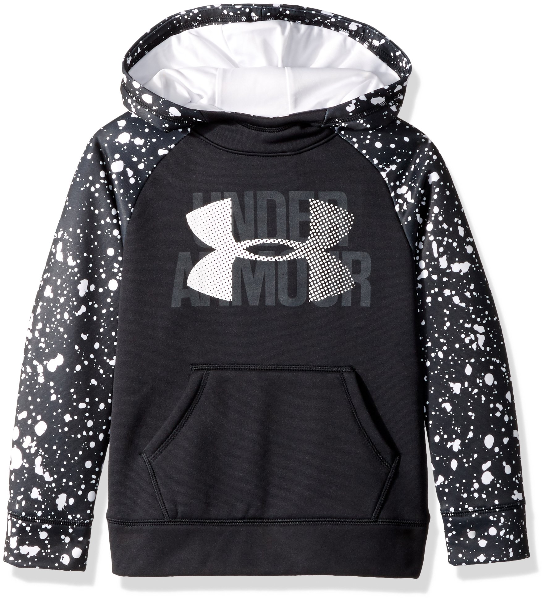 Under Armour Girls' Armour Fleece Big Logo Printed Hoodie, Black (002)/White, Youth X-Small by Under Armour