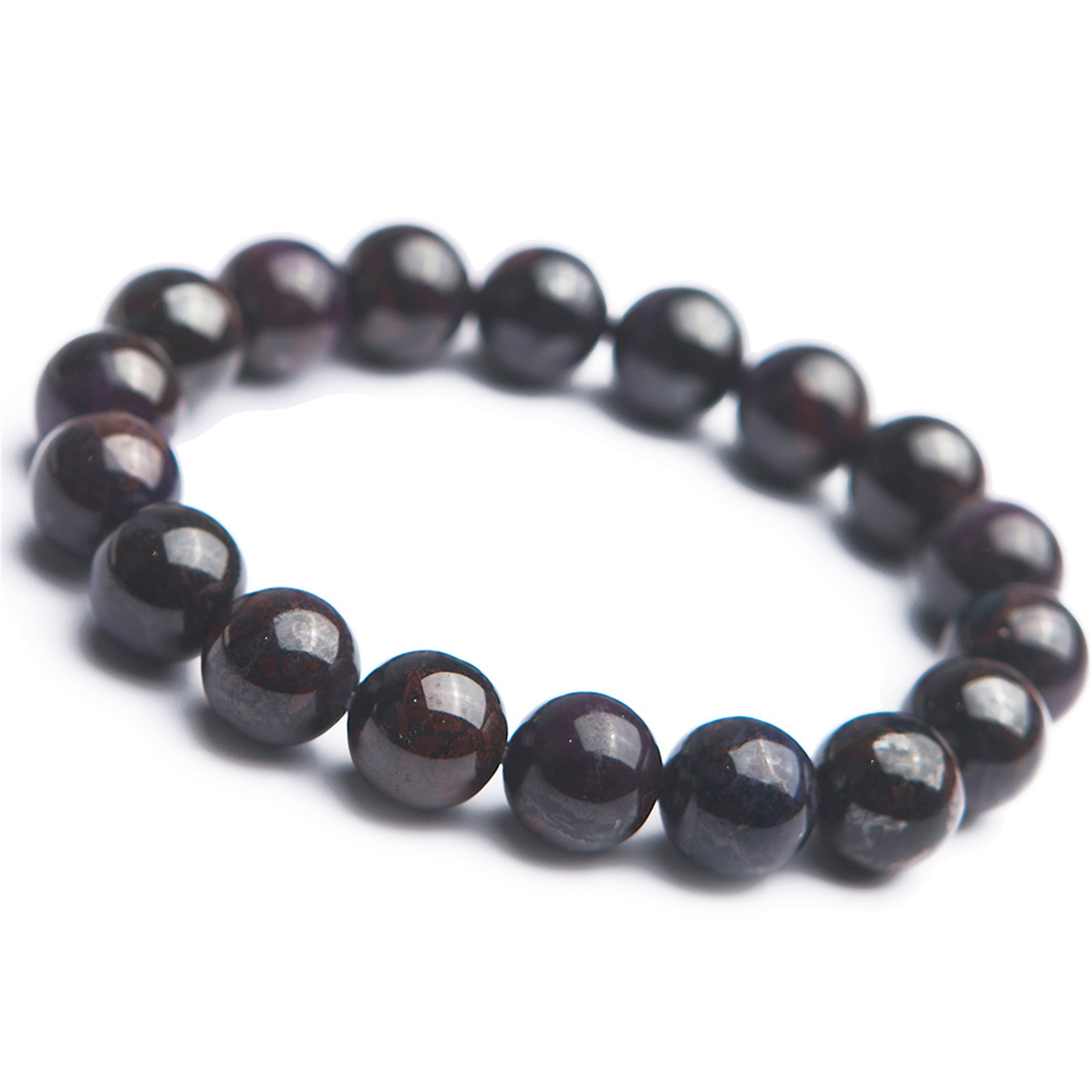 11.5mm Purple Natural Sugilite Bracelet Women Charms Crystal Stretch Round Bead Bracelet