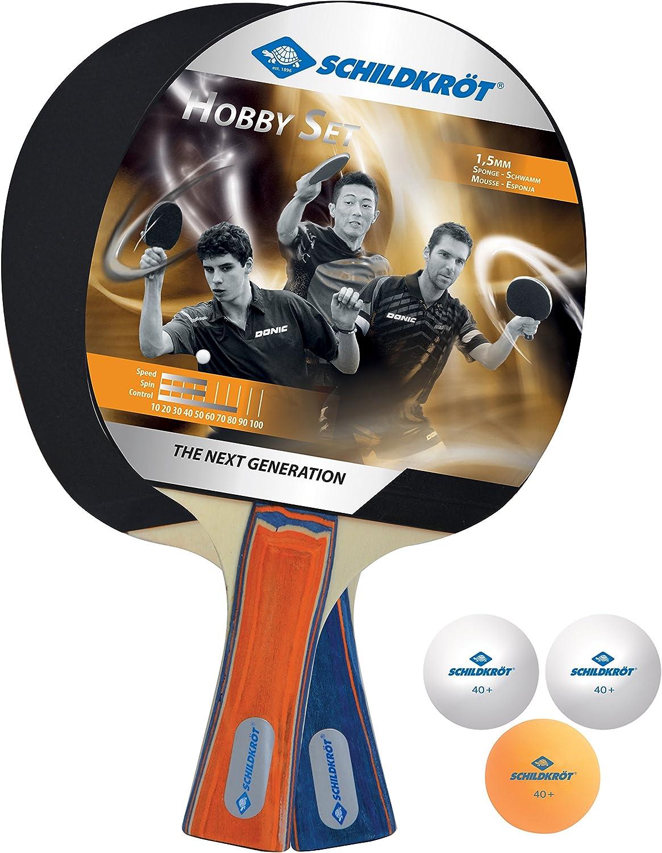 Donic-Schildkröt 788602 Hobby - Juego de ping pong (2 palos, 3 pelotas, en bolsa de transporte)