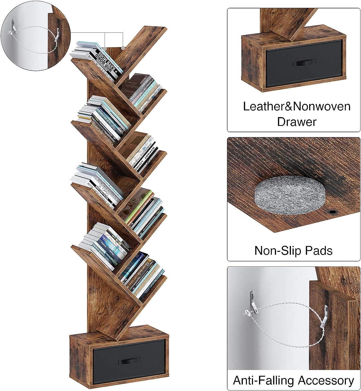 Bookshelves Storage Rack for CDs//Movies//Books Rolanstar Bookshelf Bookcase with Drawer Home Office Utility Organizer Shelves for Living Room Bedroom Floor Standing Tree Bookcase