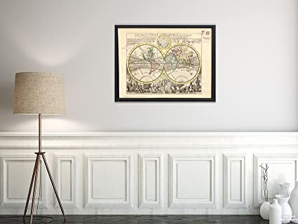 Amazon.com: New York Map Company (TM) 1732 Map World A new of the ...